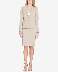 Tahari ASL One-Button Pinstriped Skirt Suit, Regular and Petite