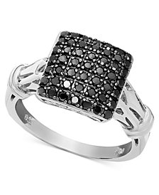 Black Diamond Square Ring in Sterling Silver (1/2 ct. t.w.)