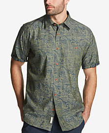 Weatherproof Vintage Men's Leaf-Print Chambray Shirt