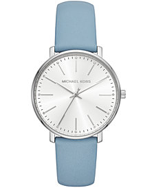 Michael Kors Women's Pyper Pale Blue Leather Strap Watch 38mm