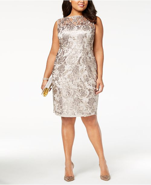 Adrianna Papell Plus Size Sequined Lace Dress & Reviews - Dresses ...