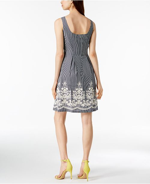 Dress Nine Flare Embroidered Navy Ivory Fit West amp; wwqXFSH