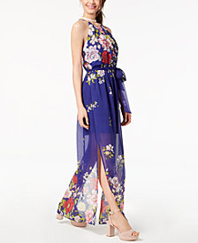 BCX Juniors' Floral-Print Halter Maxi Dress