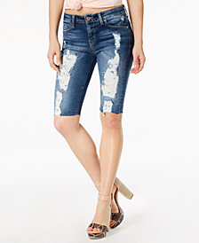 GUESS Destructed Denim Bermuda Shorts