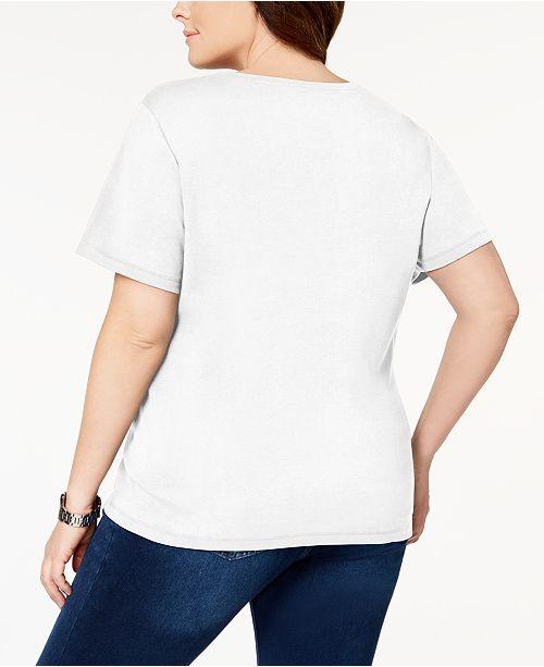 for Plus Henley Scott T Shirt Bright Size Created White Cotton Macy's Karen BwZq8RTq