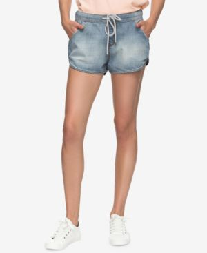 JUNIORS' MUSIC NEVER STOP DENIM SHORTS