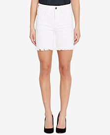 Buffalo David Bitton Faith Frayed-Hem Distressed Denim Shorts