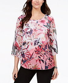 JM Collection Petite Printed Cross-Hem Top, Created for Macy's