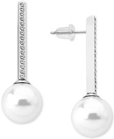 Majorica Gold-Tone Imitation Pearl and Cubic Zirconia Drop Earrings