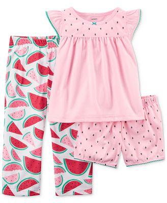Carter's 3-Pc. Watermelon Cotton Pajama Set, Toddler Girls
