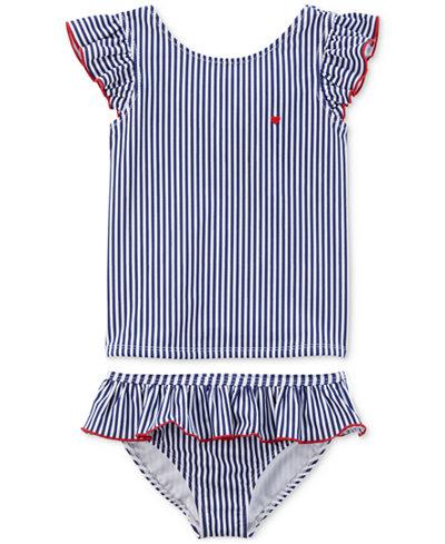 Carter's 2-Pc. Striped Ruffled Swimsuit, Little Girls & Big Girls
