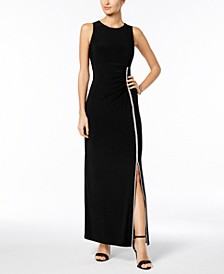 Embellished Ruched Jersey Gown