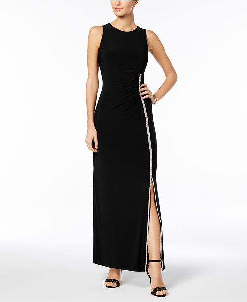 MSK Embellished Ruched Jersey Gown