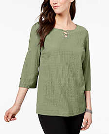 JM Collection Lattice-Trim Crinkle Top, Created for Macy's