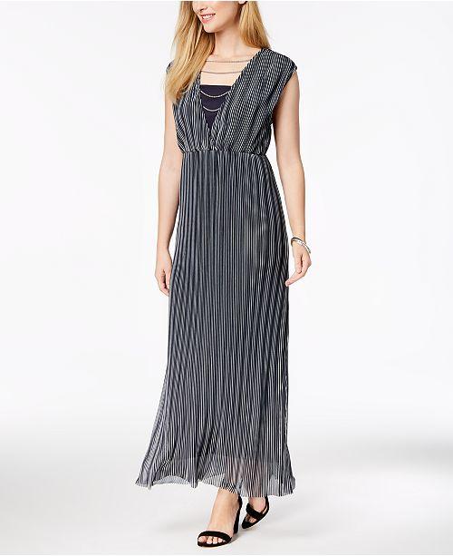Love Scarlett Petite Striped Chain-Detail Maxi Dress, Created for Macy's