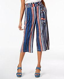 John Paul Richard Petite Printed Wide-Leg Cropped Pants, Created for Macy's