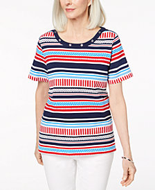 Alfred Dunner Petite America's Cup Embellished Striped Top