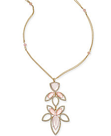 "I.N.C. Gold-Tone Stone and Crystal Pendant Necklace, 28"" + 3"" extender, Created for Macy's"