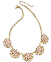 """I.N.C. Gold-Tone Stone & Enamel Flower Collar Necklace, 20"""" + 3"""" extender, Created for Macy's"""