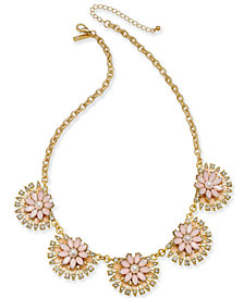 "I.N.C. Gold-Tone Stone & Enamel Flower Collar Necklace, 20"" + 3"" extender, Created for Macy's"