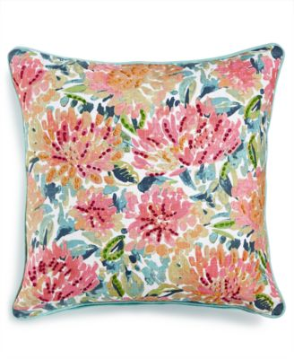 """LAST ACT! Omelia 20"""" Square Embroidered Floral-Print Decorative Pillow, Created for Macy's"""