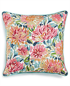 "LAST ACT! Lacourte Omelia 20"" Square Embroidered Floral-Print Decorative Pillow, Created for Macy's"
