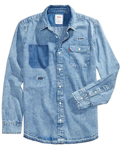 aaacefb4ebe Levi s Men s Slim-Fit Distressed Denim Shirt   Reviews - Casual ...