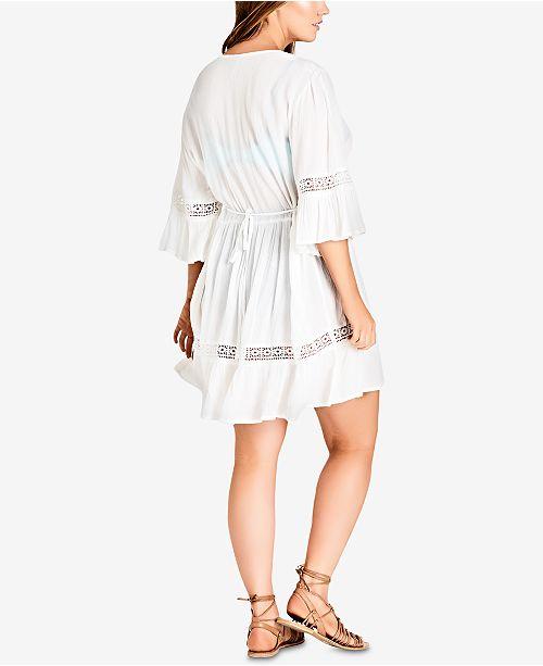City Chic Trendy Plus Size Gauze Peasant Dress Dresses Plus