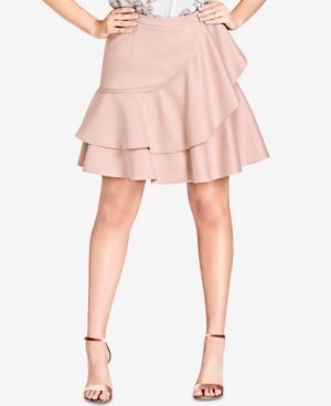 Trendy Plus Size Ruffled A-Line Skirt, Ballet Pink
