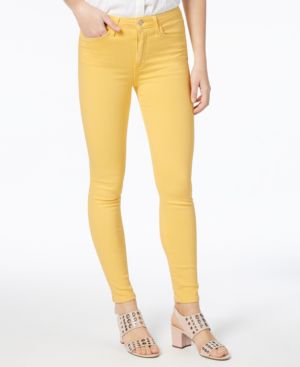 Charlie High Waist Ankle Skinny Jeans, Pale Marigold