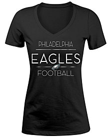 5th & Ocean Women's Philadelphia Eagles Foil V-Neck T-Shirt