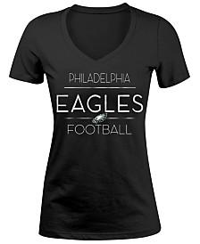 5th   Ocean Women s Philadelphia Eagles Foil V-Neck T-Shirt 0ca067041f