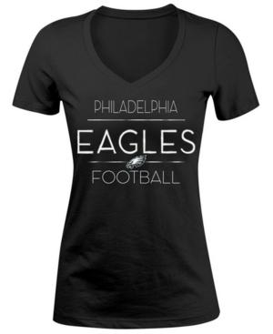 5th & Ocean Women's Philadelphia Eagles Foil V-Neck T-Shirt