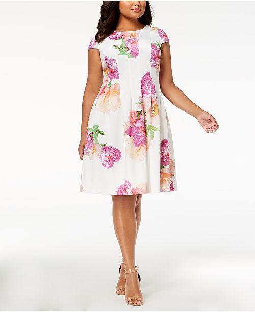 a3526ff63b7 Calvin Klein Plus Size Floral-Print Fit & Flare Dress & Reviews ...