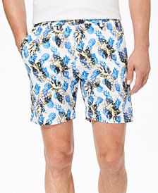 "Con.Struct Men's Stretch Yellow Pineapple-Print 7"" Shorts, Created for Macy's"