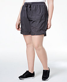 Calvin Klein Performance Plus Size Ribbed-Waistband Convertible Shorts