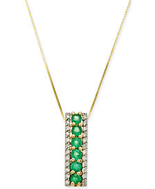 "Emerald (3/4 ct. t.w.) & Diamond (1/4 ct. t.w.) 18"" Pendant Necklace in 14k Gold"
