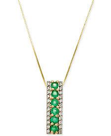 "Emerald (3/4 ct. t.w.) & Diamond (1/4 ct. t.w.) 18"" Pendant Necklace in 14k Gold"