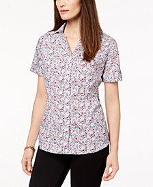 Karen Scott Petite Cotton Ladybug Floral-Print Shirt, Created for Macy's