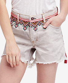 Free People Borderline Cotton Frayed-Hem Embroidered Shorts