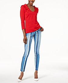 I.N.C. Ruffled Sweater & Striped Jeans, Created for Macy's