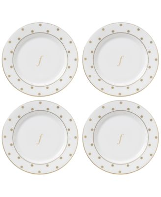 Larabee Road Gold Monogram Tidbit Plates, Set of 4