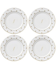 Larabee Road Gold Monogram Tidbit Plates, Set of 4