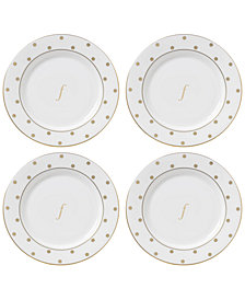 kate spade new york Larabee Road Gold Monogram Tidbit Plates, Set of 4