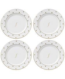 kate spade new york Larabee Road Gold Monogram Tidbit Plates, Set of 4