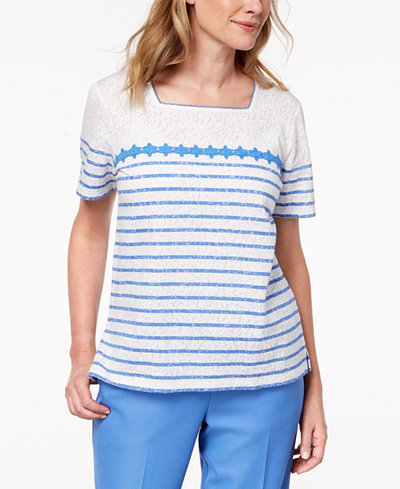 Alfred Dunner Striped Lace Top