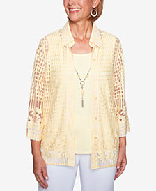 Alfred Dunner Petite Mesh Layered-Look Top