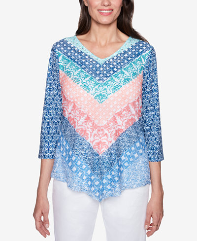 Alfred Dunner Sun City Embellished Contrast Top