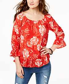 I.N.C. Printed Off-The-Shoulder Peasant Top, Created for Macy's