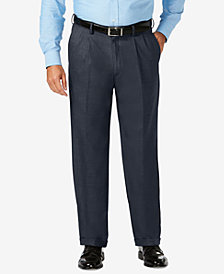 J.M. Haggar Men's Big & Tall Classic-Fit Stretch Sharkskin Pleated Dress Pants
